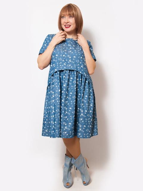 Платье темно-голубое в принт LibeAmore 5057268