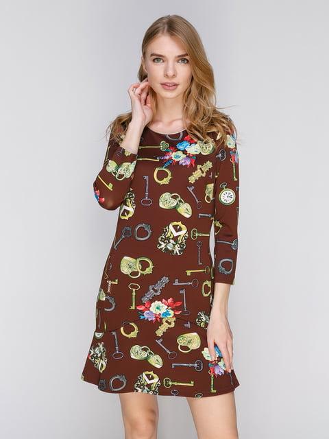 Сукня коричнева в принт Lesya 2046032