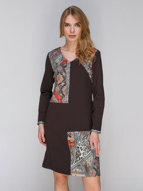 Платье коричневое в принт Lesya 2871424