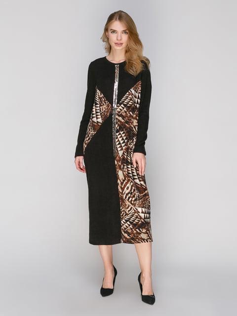 Платье черное в принт Lesya 2871435