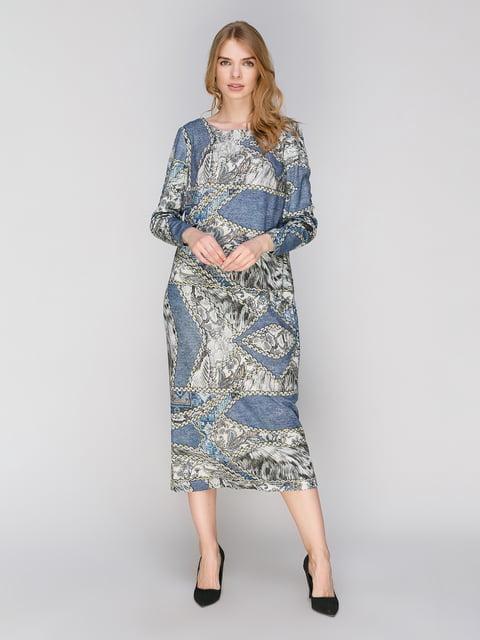 Платье голубое в принт Lesya 2880773