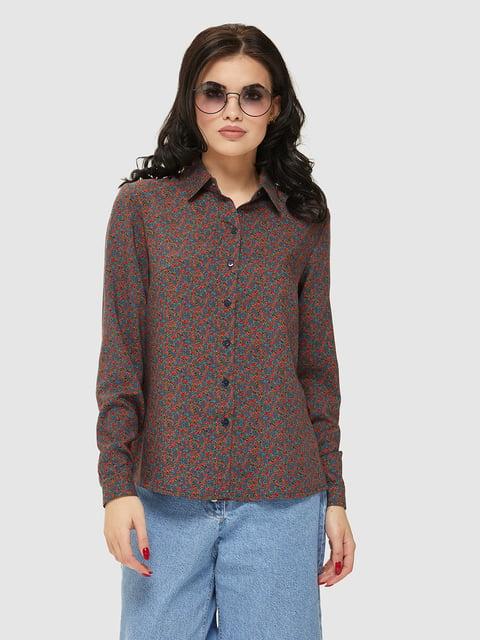 Сорочка кольору хакі в принт Mila Nova 5075480