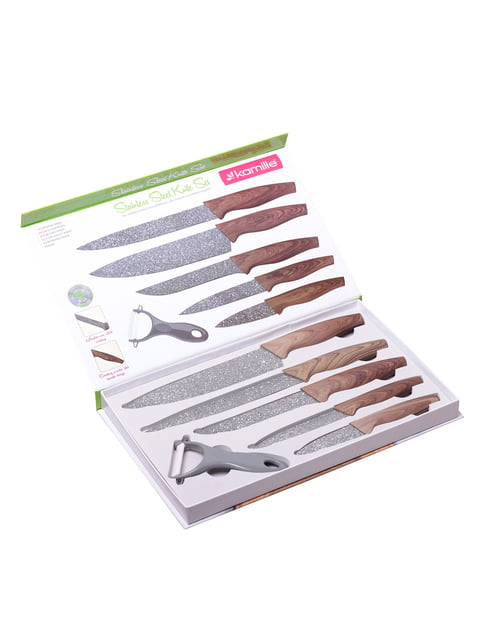 Набір кухонних ножів в подарунковій упаковці 6 предметів (5 ножів піллер) Trendy 4356279