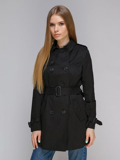 Пальто чорне Stradivarius 4640143