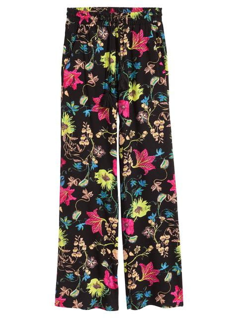 Брюки черные с цветочным принтом H&M 5072864
