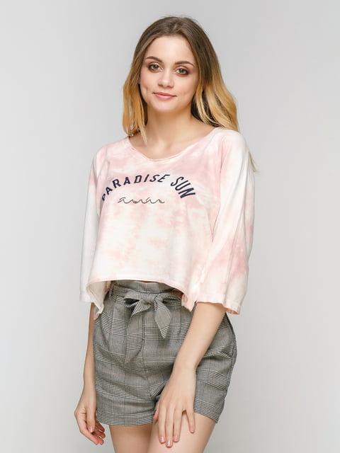 Реглан біло-рожевий з принтом Bershka 4562147