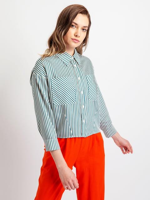 Рубашка бело-зеленая полосатая BGN 5096524