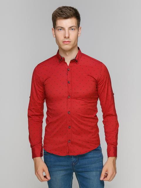 Рубашка красная в принт Online 5086438
