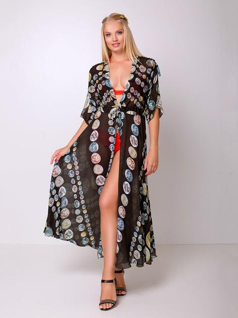 Платье-туника черное с принтом Luzana 5104800