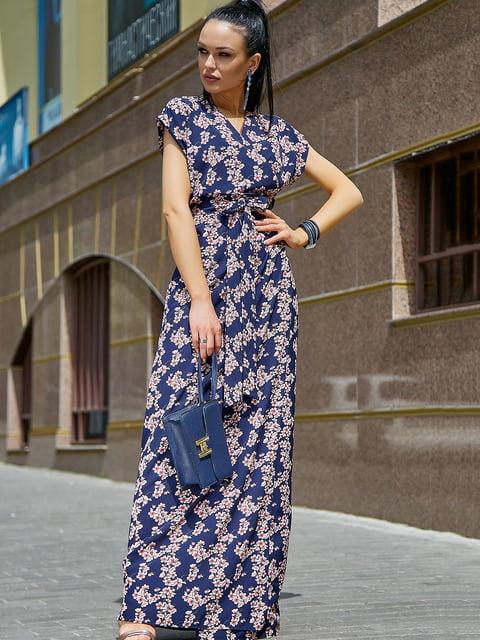Платье темно-синее в цветочный принт Seventeen 5106868