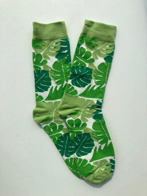 Шкарпетки зелені в принт Nettle 5106876