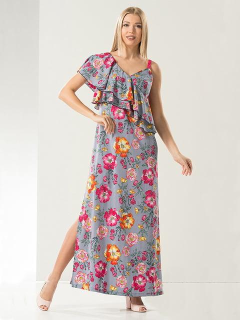 Платье серое в цветочный принт Lesya 4973681