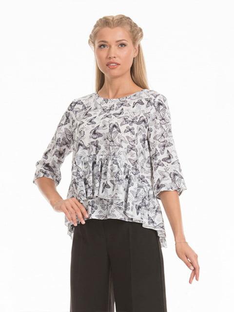 Блуза белая в принт Lesya 5114035