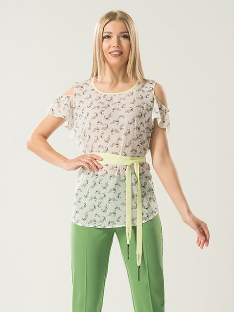 Блуза молочного цвета в принт Lesya 5114051