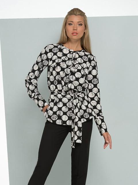 Блуза черная в принт Lesya 5114053