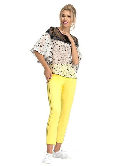 Блуза молочного цвета в принт Lesya 5114059