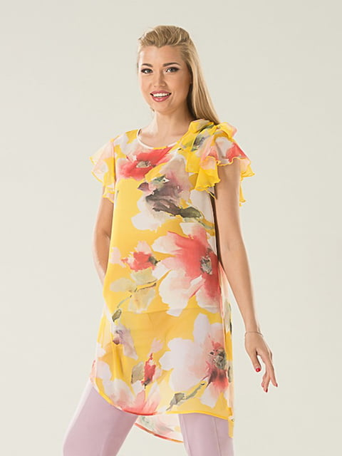 Блуза желтая в цветочный принт Lesya 5114061