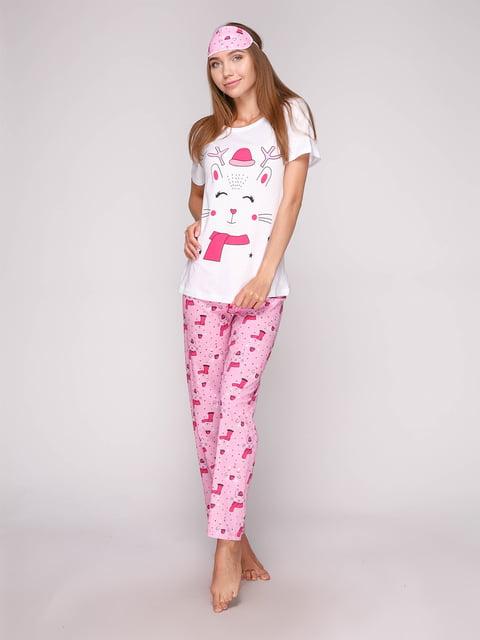 Пижама: футболка, брюки и маска для сна Strawberry 5106151