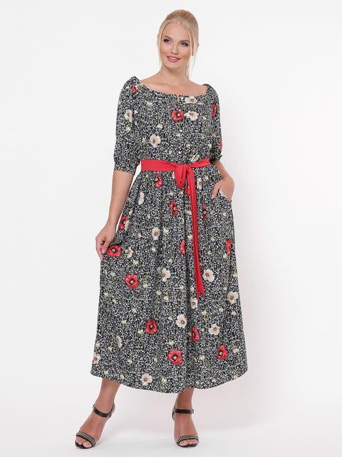 Платье черное в цветочный принт VLAVI 5117538
