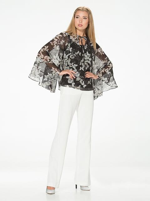 Блуза черная с цветочным принтом Lesya 5115719