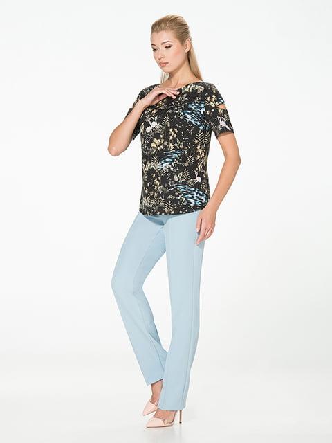 Блуза черная с принтом Lesya 5115748