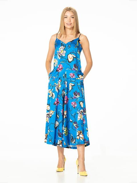 Кюлоты голубые с цветочным принтом Lesya 5115835