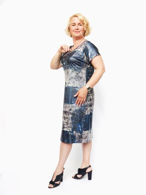Платье синее в принт Мисс мода 5124556