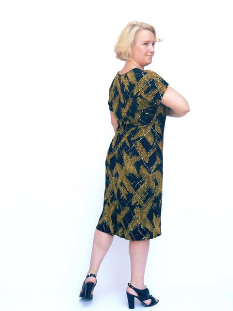 Платье синее в принт Мисс мода 5124611