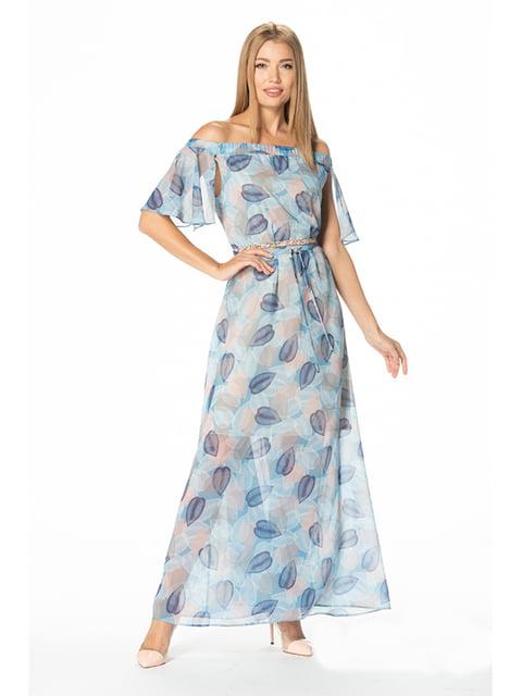 Платье голубое с принтом Lesya 5129064