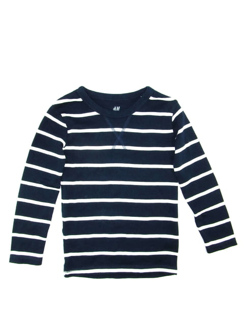 Лонгслів темно-синій в смужку H&M 5135910