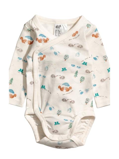 Боді молочного кольору з принтом H&M 5135930