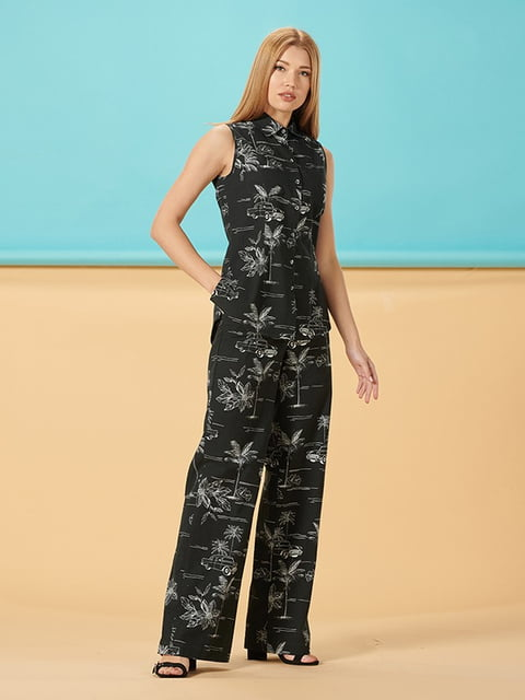 Блуза черная в принт Lesya 5115777