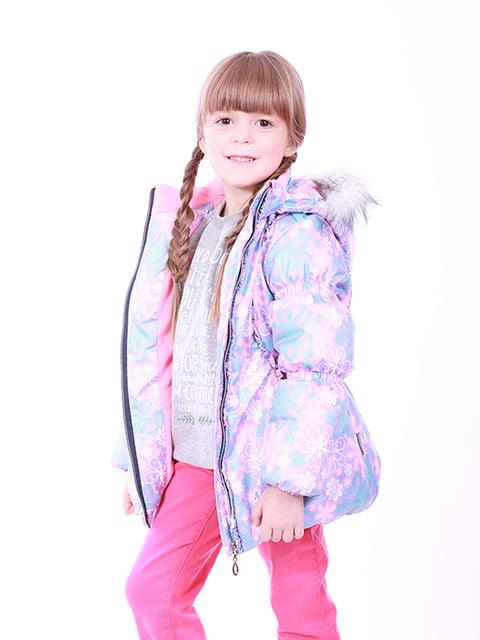 Куртка бузкова в квітковий принт Kat 5140584