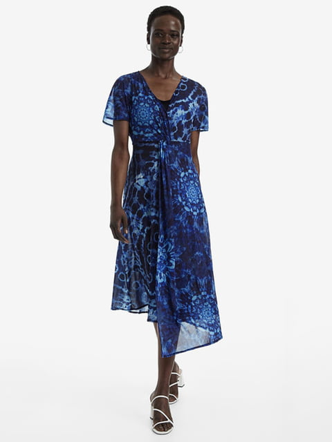Сукня синя в принт Desigual 5143192
