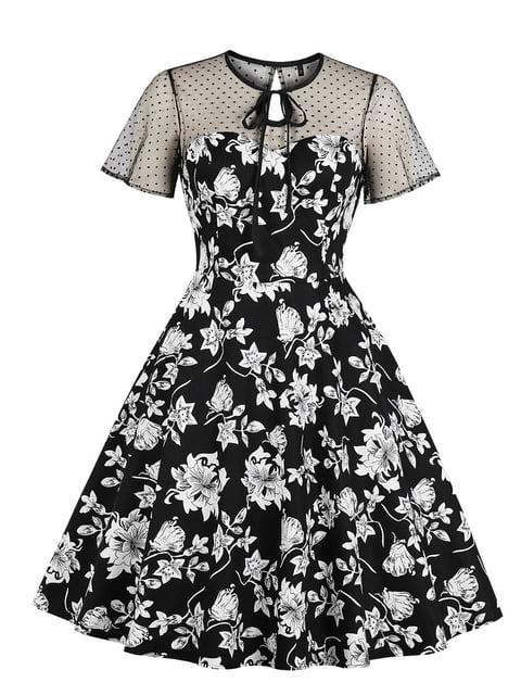 Сукня чорна в квітковий принт Mixinni 5154164
