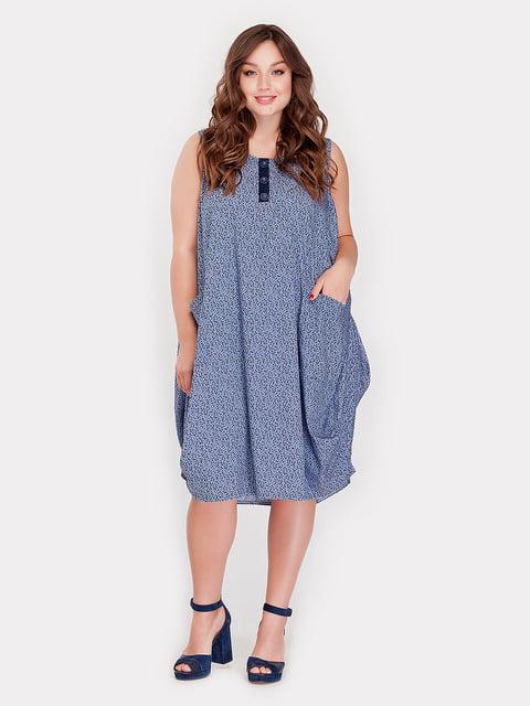 Платье голубое в принт Peony 4388692
