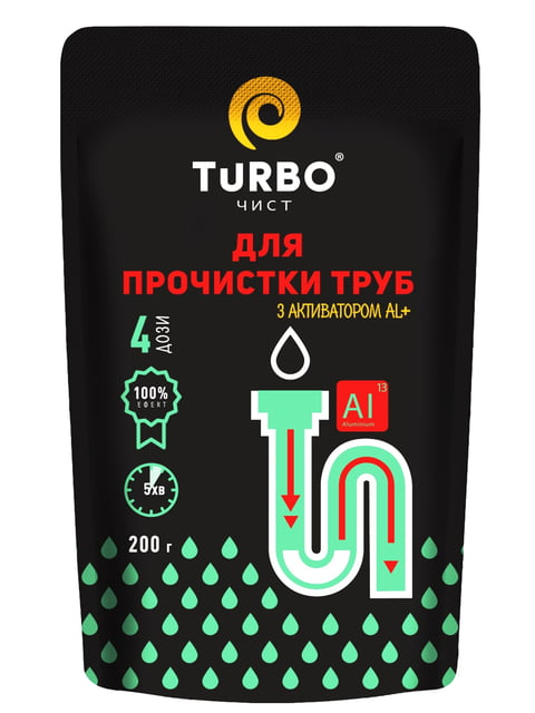 Гранулы для прочистки канализационных труб (200 г) TURBOчист 5165810