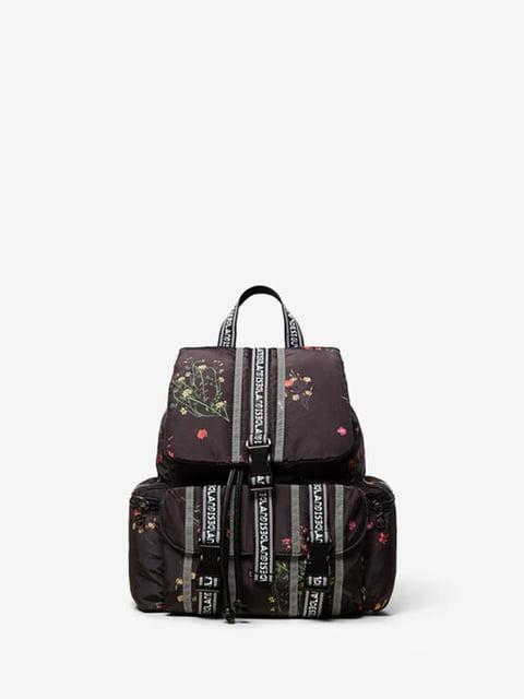 Рюкзак чорний з квітковим принтом Desigual 5162872