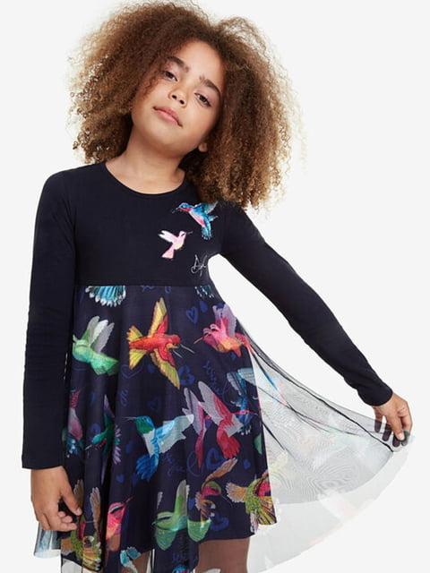 Сукня темно-синя з принтом Desigual 5162915