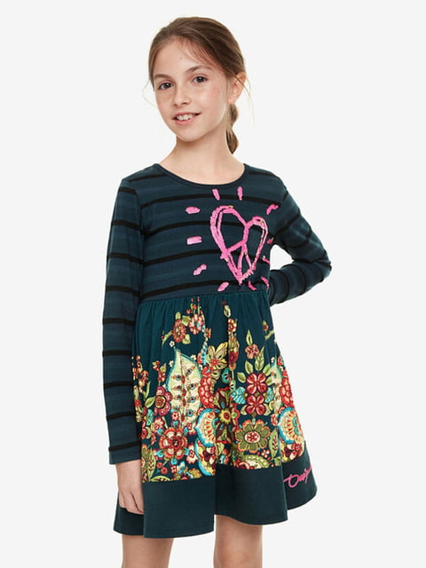 Сукня зелена з принтом Desigual 5162920
