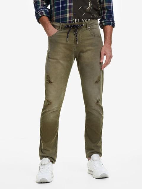 Штани кольору хакі Desigual 5162932