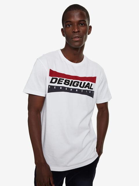 Футболка біла з принтом Desigual 5162939
