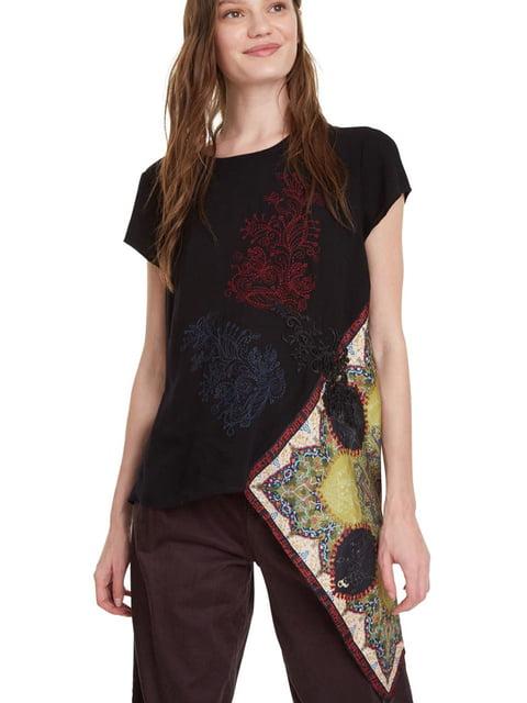 Блуза чорна з вишивкою і принтом Desigual 5162948