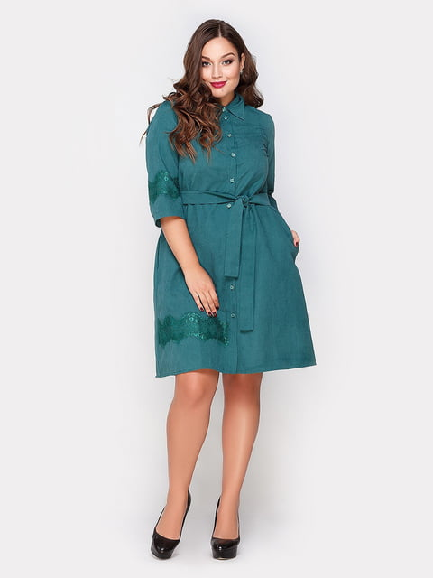 Платье изумрудного цвета Peony 4665238