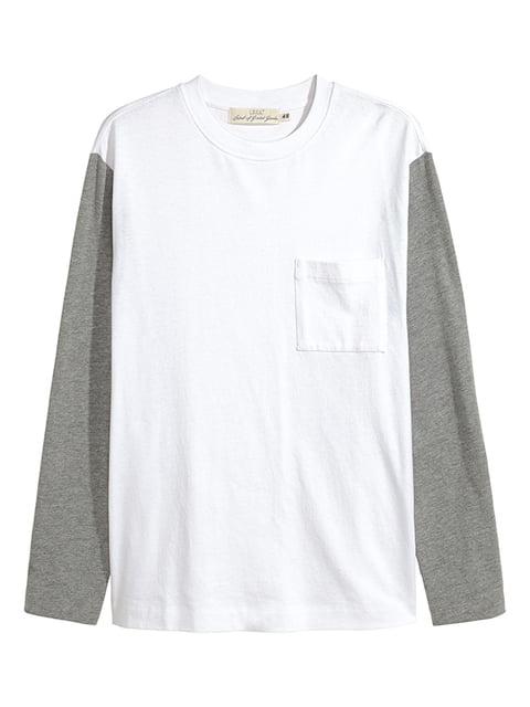 Лонгслив бело-серый H&M 5172630