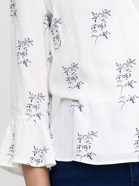 Блуза белая в принт H&M 5171447