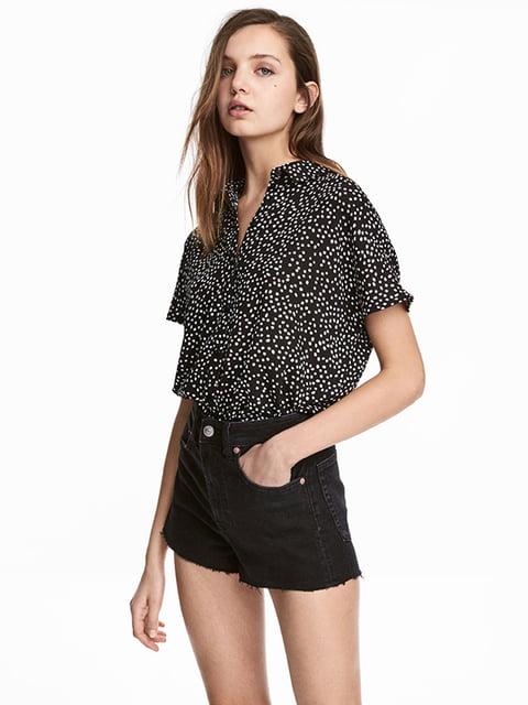 Блуза черная в принт H&M 5172046