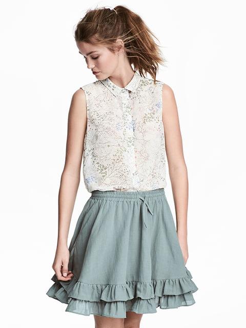 Блуза белая в принт H&M 5172199