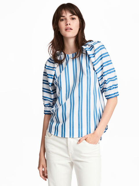 Блуза бело-синяя в полоску H&M 5171208