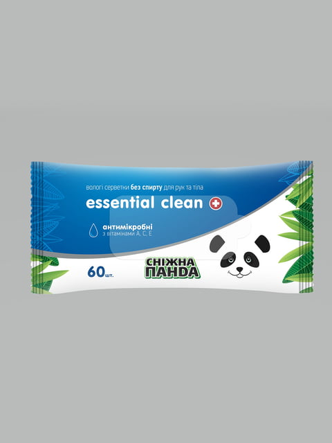 Серветки вологі для рук і тіла Essential Clean Снежная панда 5175821